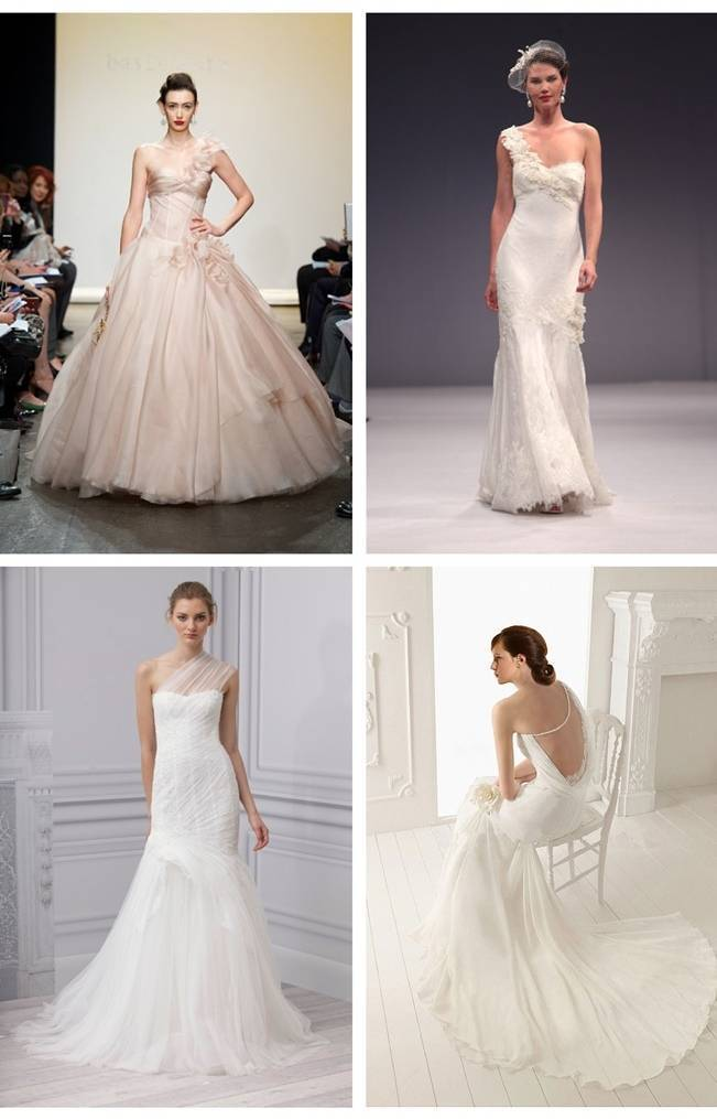 one shoulder gowns blush, marchesa, monique Lhuillier