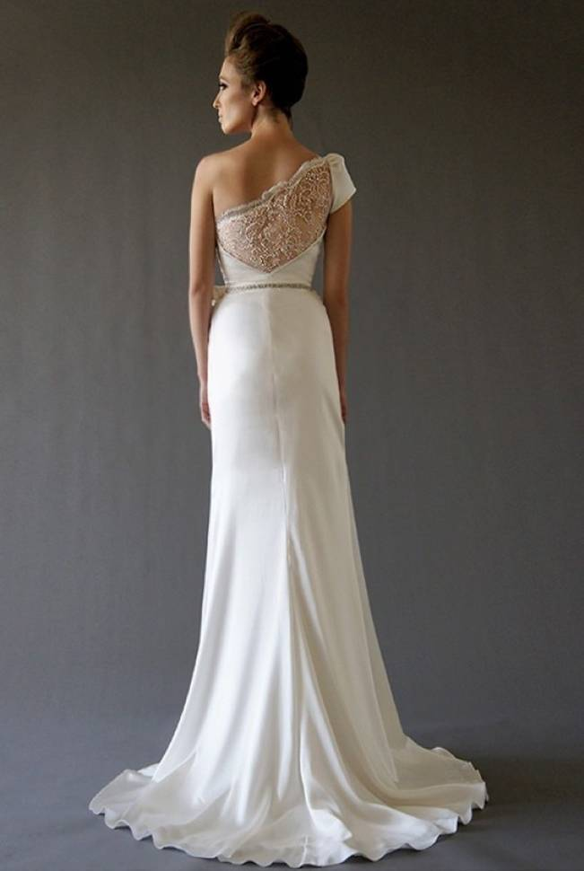 lace back wedding dress with one shoulder