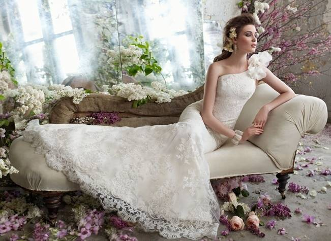 tara keely bridal lace gown with one shoulder