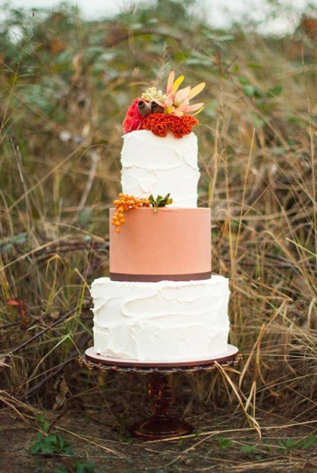 orange and red fall wedding cake