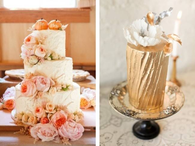 gold peach pink wedding cake