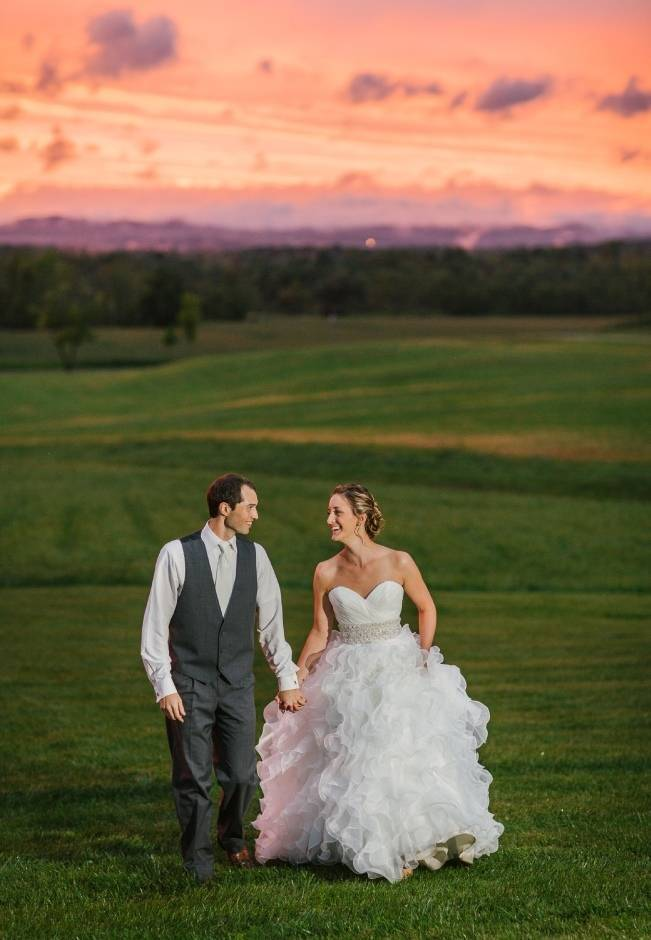 pink sunset wedding