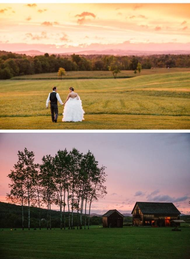 rustic barn wedding at sunset