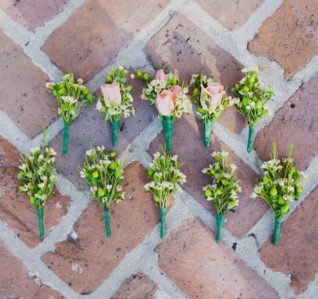 rustic waxflower boutonnieres
