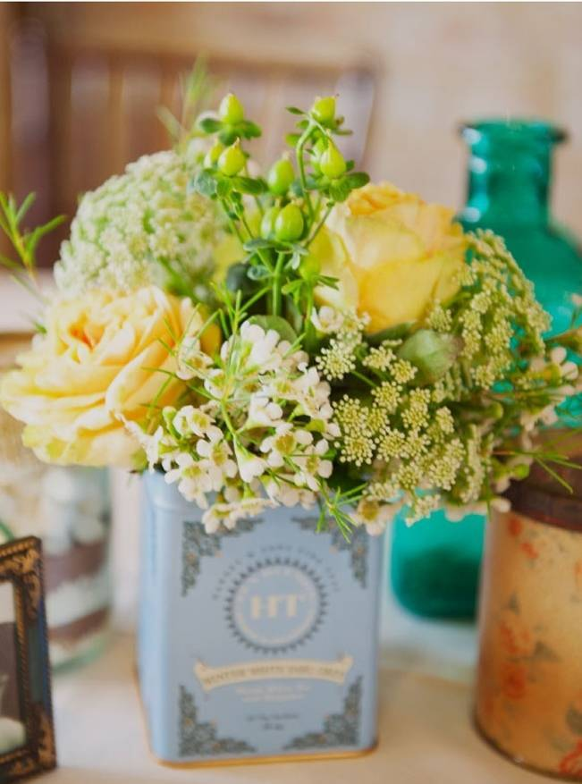vintage tin containers for flowers
