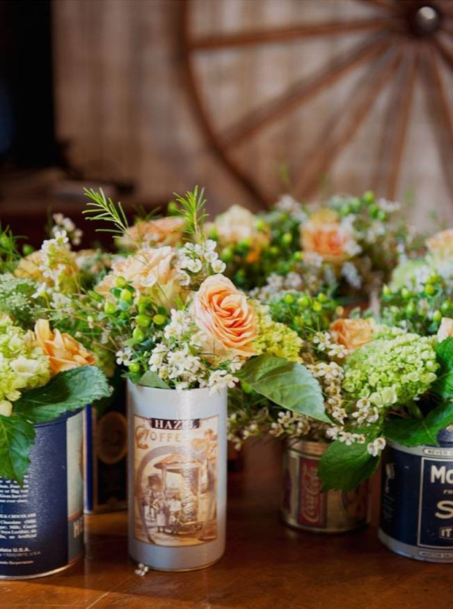 vintage tin can vases for weddings
