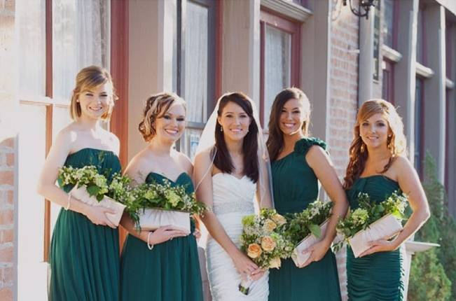 hunter green bridesmaids