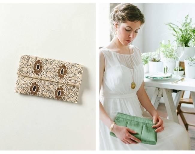 green bridal clutch