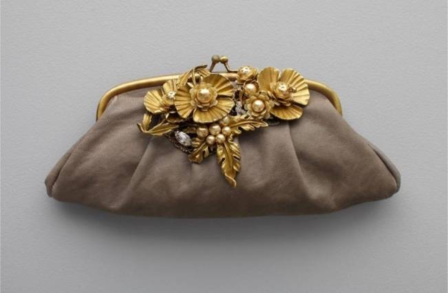BHLDN grey and gold floral clutch