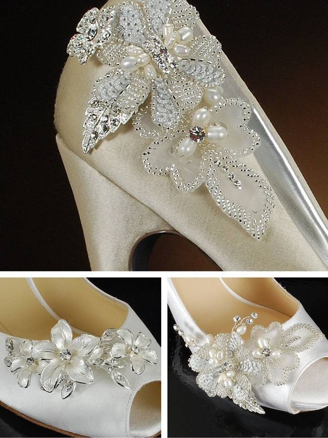 bridal shoe clips floral