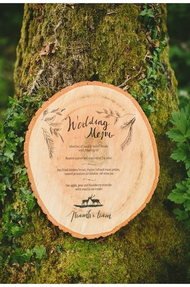 woodland wedding menu wood stationery