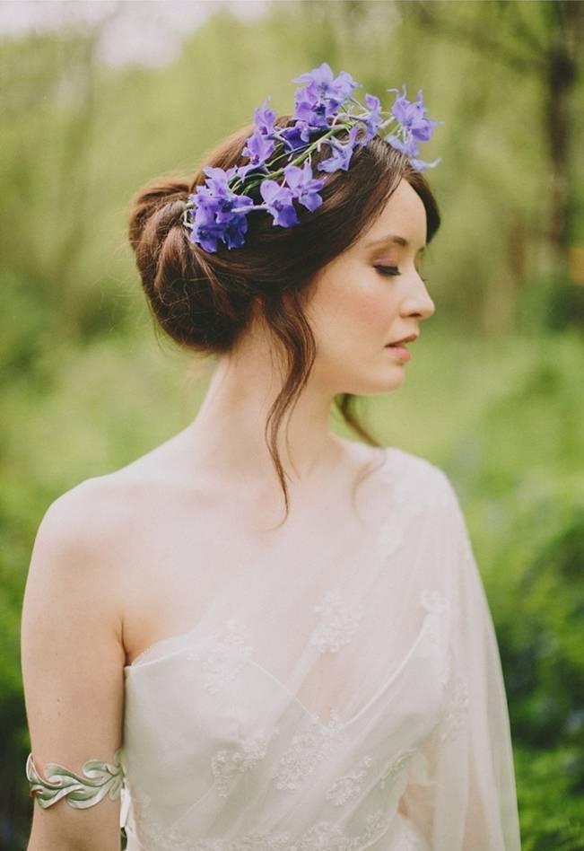 violet woodland flower crown