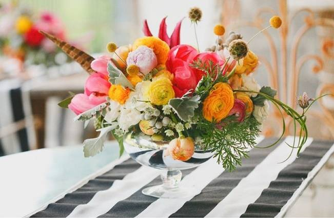 yellow pink orange centerpiece