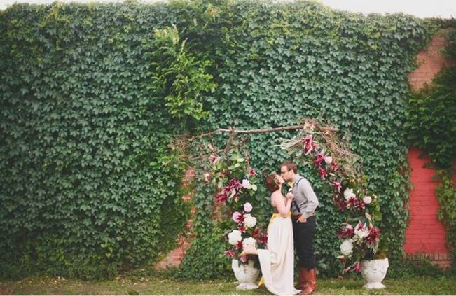 rustic garden wedding ceremony arch