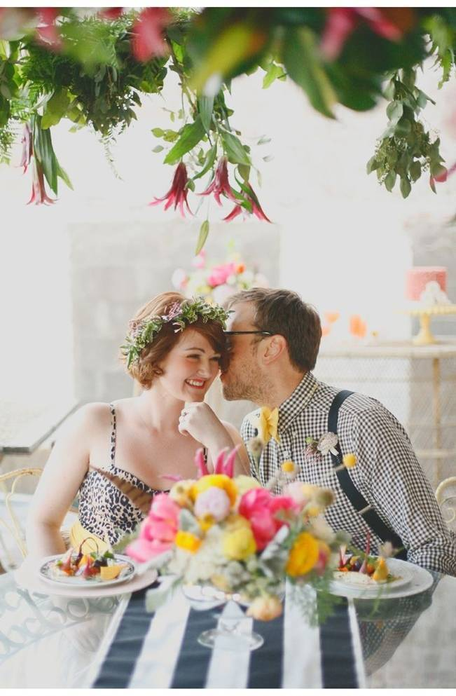yellow and pink wedding