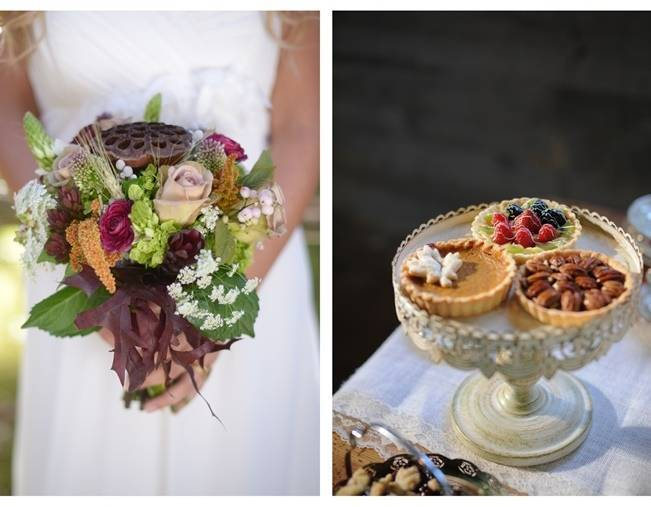 fall woodland wedding bouquet and mini pies