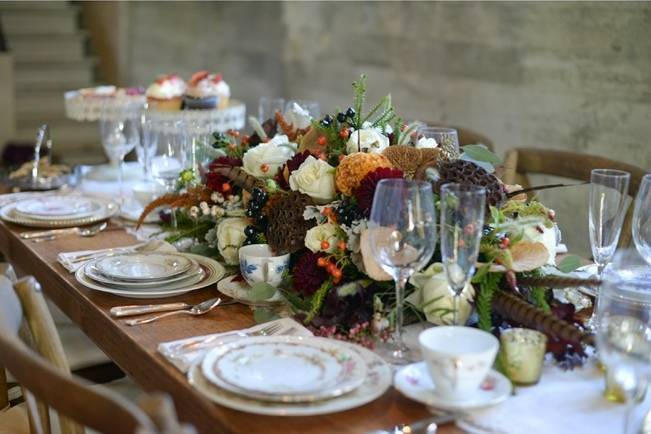 woodland wedding table with vintage plates
