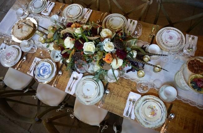 rustic woodland wedding table setup