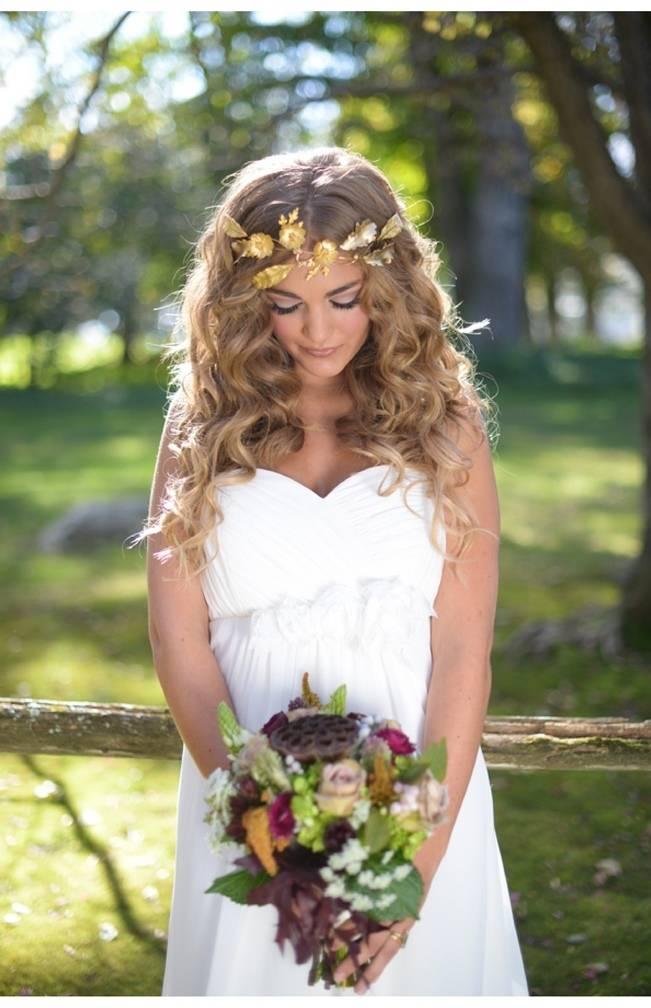 gold leaf hair crown woodland bride