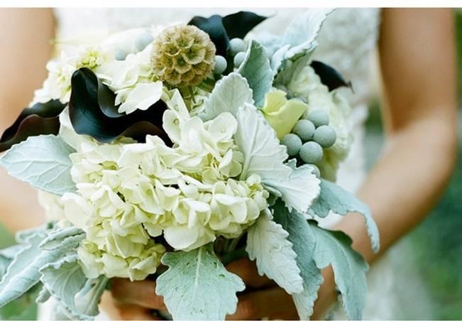 hydrangea and dusty miller bouquet