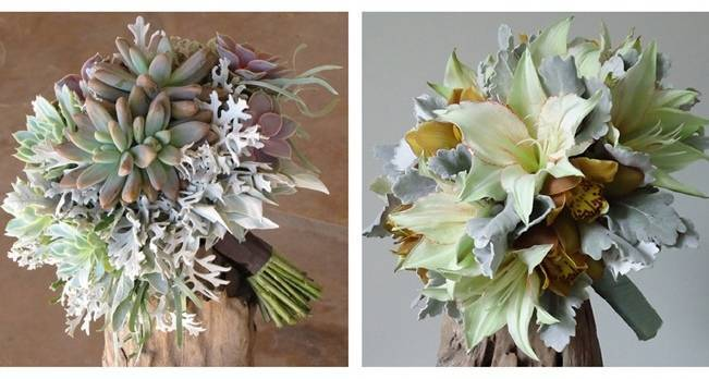 silver and green wedding bouquets