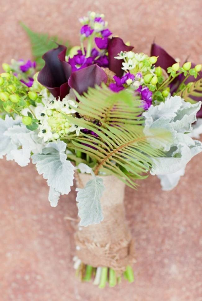 purple and green bouquet with dusty miller and ferns