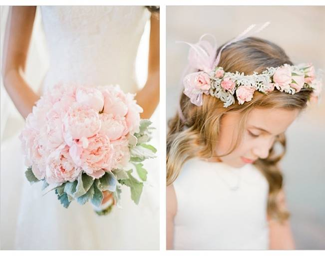 pink peony and dusty miller bouquet