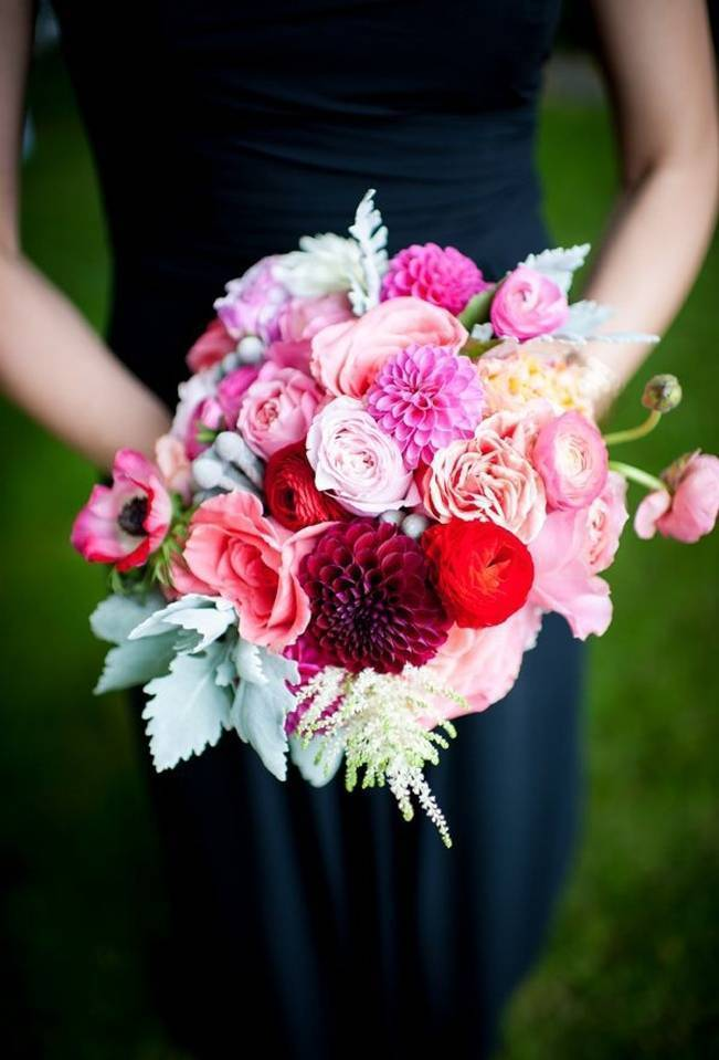 bright pink and dusty miller bouquet