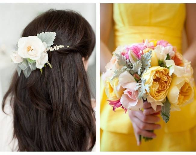 yellow peony and dusty miller