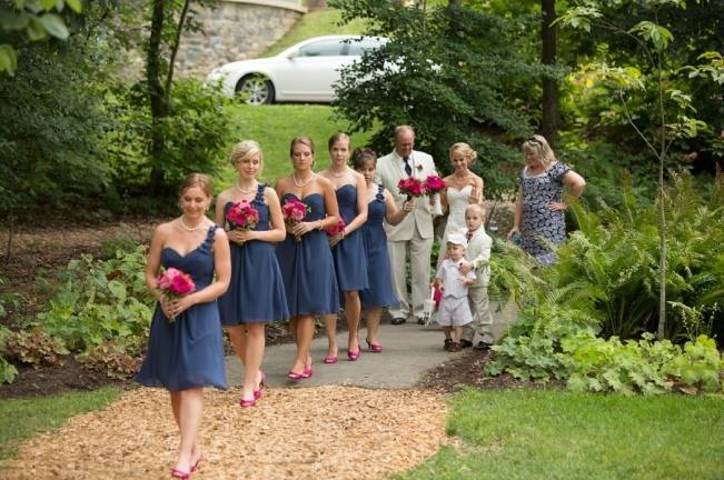 bright pink bridesmaid bouquets + shoes