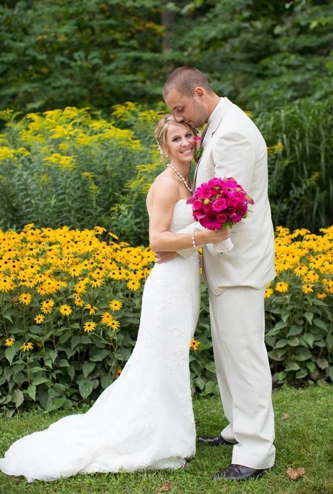 pink and yellow weddding flowers