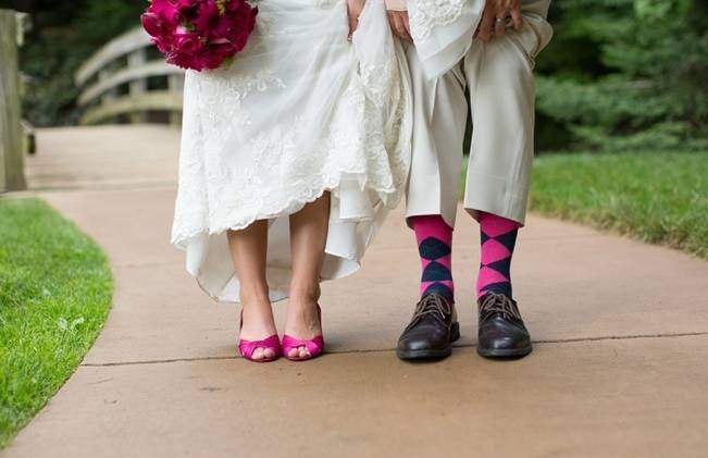 pink and navy matching bride and groom