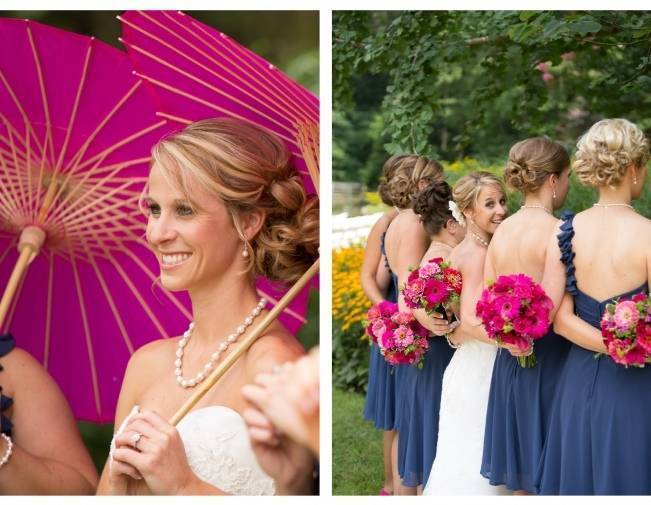 pink wedding umbrellas