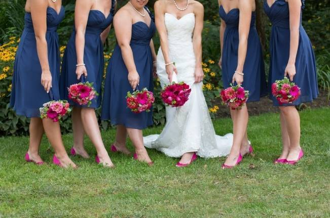 blue and pink bridesmaids