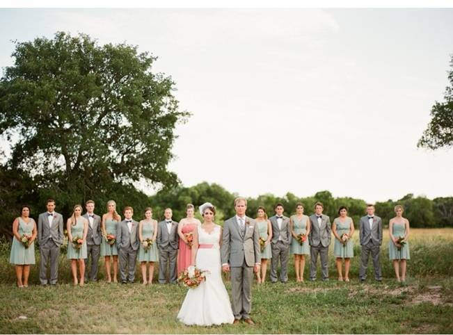 gray and pink wedding party