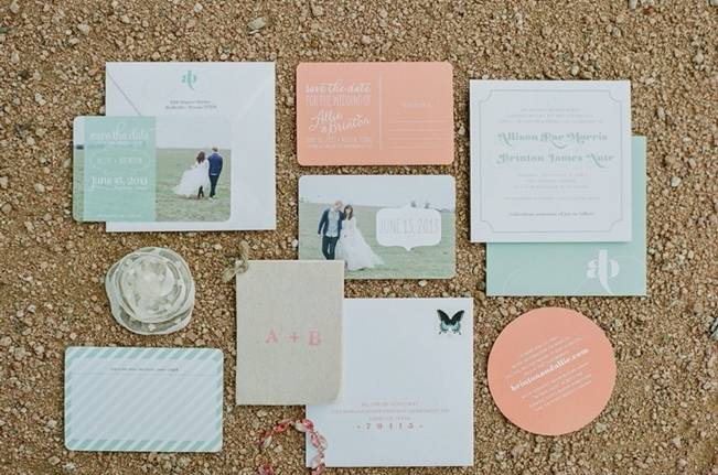 peach and mint wedding stationery