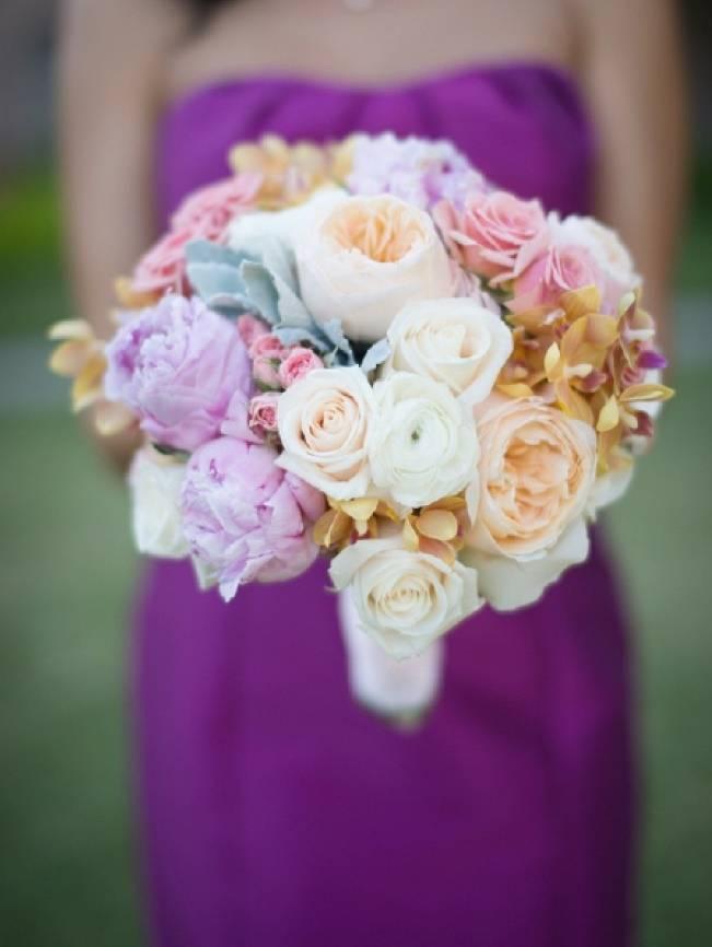 pastel wedding bouquet pink gold ivory