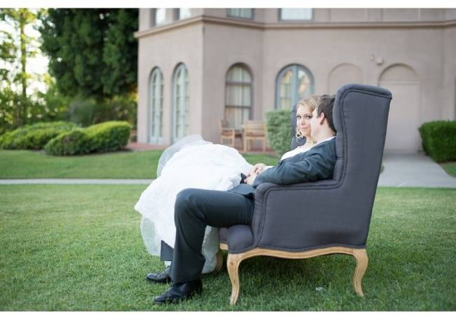 french grey settee bride and groom