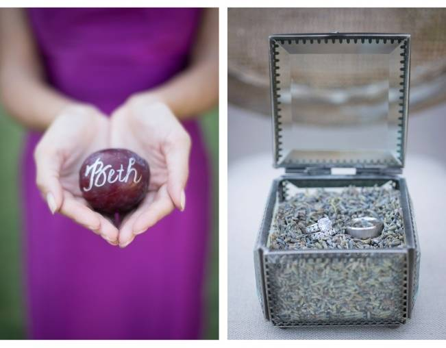glass ring box, plum wedding