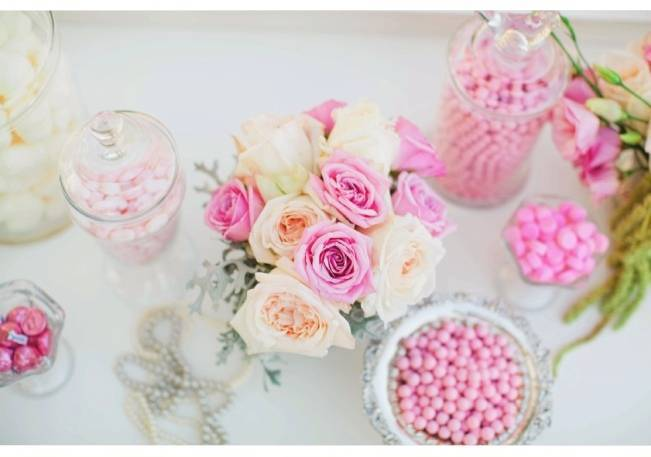 pink wedding candy table
