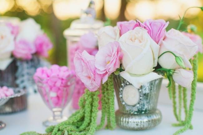 bright pink roses centerpiece