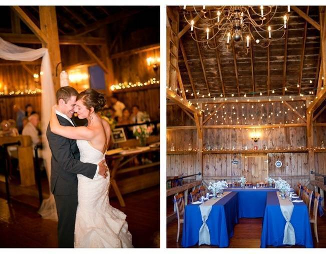 barn wedding reception with twinkle lights