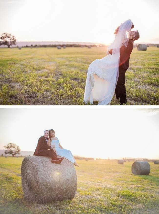 bride and groom in hay field