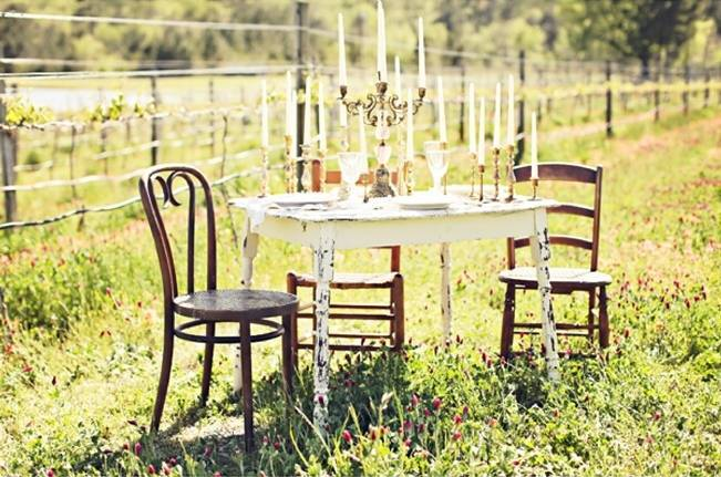 rustic vintage table for outdoor weddings
