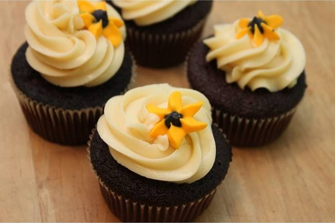 cupcakes with yellow flowers on top