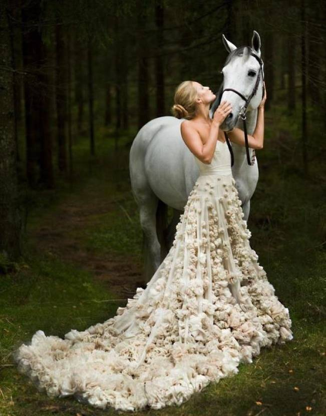 Leila Hafzi floral wedding dress bride with horse