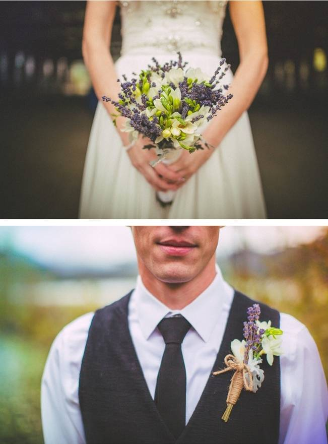 rustic purple and green bouquet