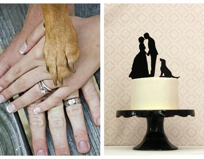 bride groom and dog cake topper