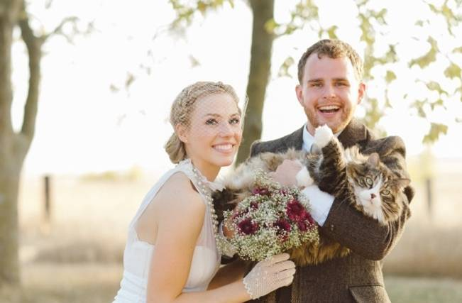 bride and groom with cat