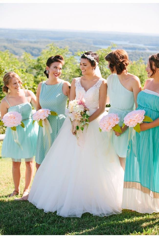 seafoam teal aqua bridesmaid dresses